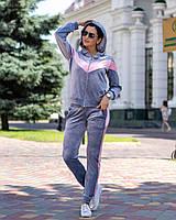 Спортивный костюм женский велюровый на змейке, серый