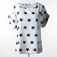 Блуза женская с короткими рукавами / Футболка шифоновая белая со звездами