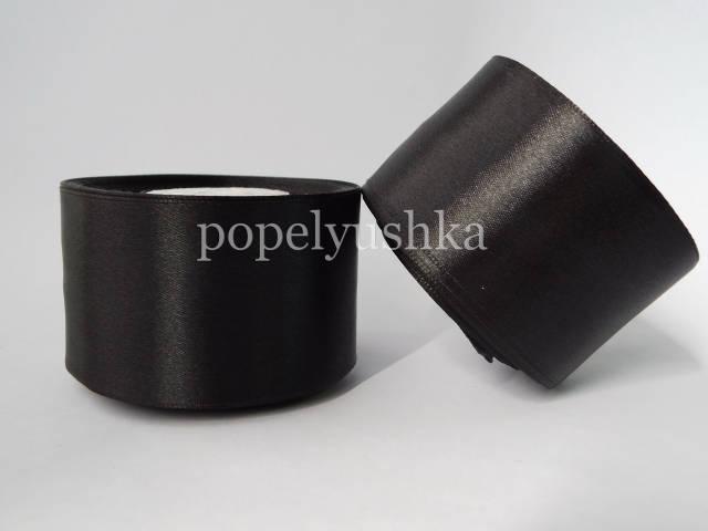 Стрічка атласна 5 см чорна