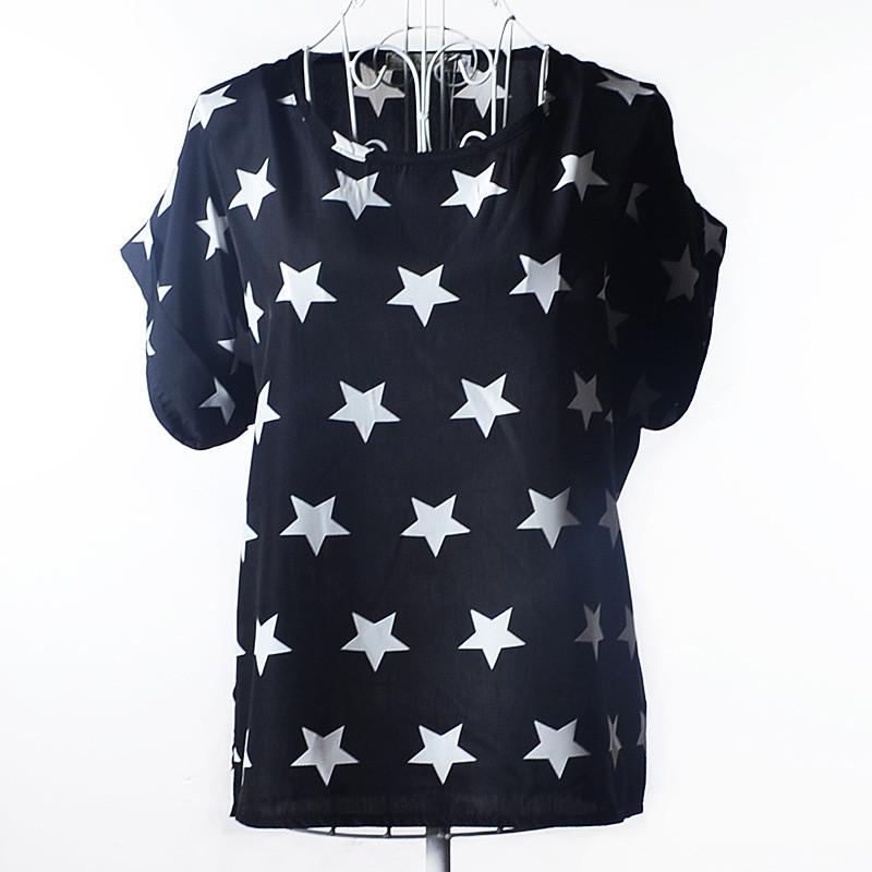 Блуза женская с короткими рукавами / Футболка шифоновая черная со звездами