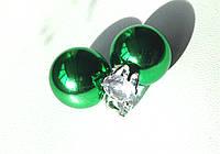 Серьги пуссеты Dior Crystal зеленые, серьги двойной шарик