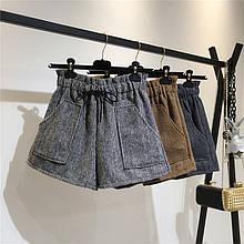 Женские теплые шорты с карманами серые