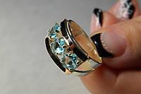 Кольцо серебряное женское с золотыми пластинами