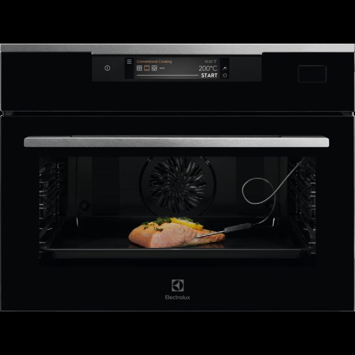 Компактная, встраиваемая духовка с функцией паровой печи и Wi-Fi Electrolux KVBAS21WX