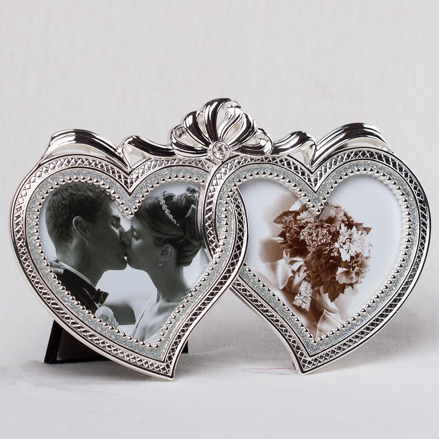 Фоторамка для двух фото Сердце настольная 16х10 см 087C мультирамка рамка для фото коллаж сердечки