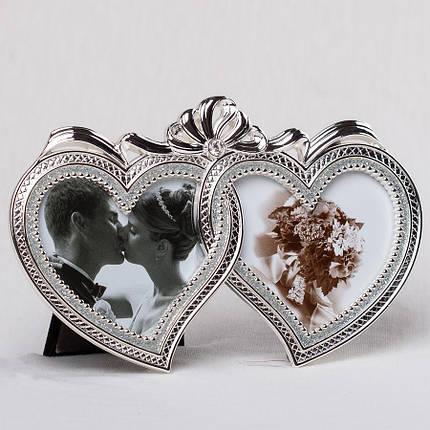 Фоторамка для двух фото Сердце настольная 16х10 см 087C мультирамка рамка для фото коллаж сердечки, фото 2