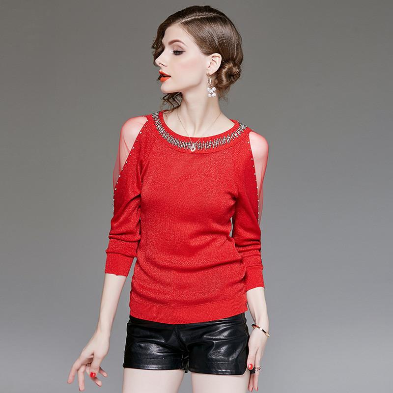 Блестящий нарядный пуловер 42-44 (в расцветках)