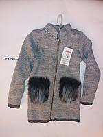 Детская вязаная кофта с меховыми карманами для девочки, фото 1