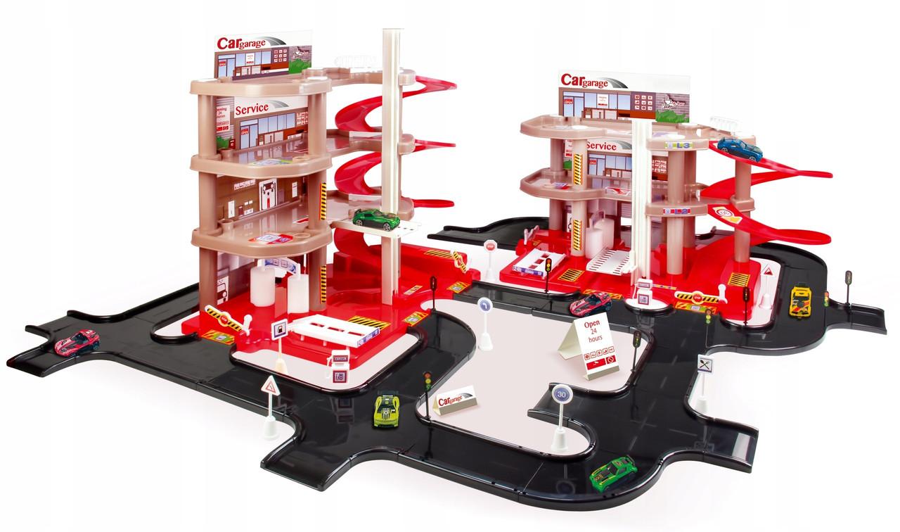 Детский игровой набор парковка-гараж многоэтажный со спусками и лифтом