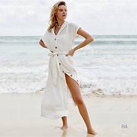 Женская длинная пляжная туника на пуговицах