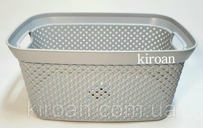 Корзина пластиковая 24 x 35 x 17 см (цвет-серый) 10л Diamond, Турция, фото 2