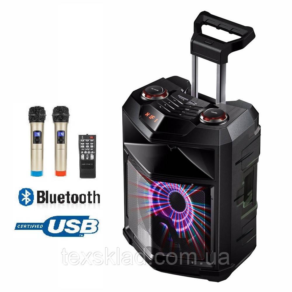 Колонка портативная с микрофонами TMS-1201 /300W (USB/Bluetooth/Пульт ДУ/FM)