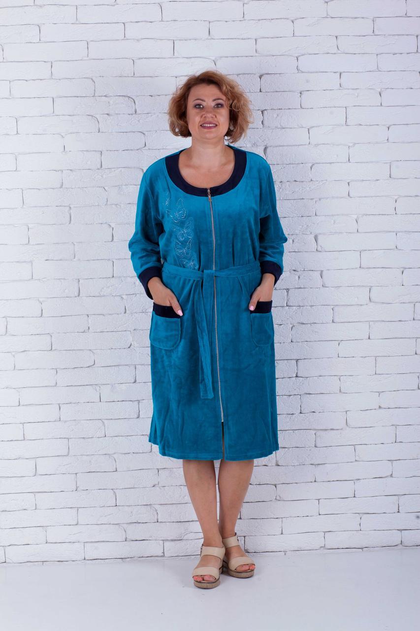 Велюровый халат женский с вышивкой бабочки большие размеры
