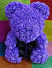 Красивый мишка из латексных 3D роз 40 см в подарочной коробке | Бордо, фото 7