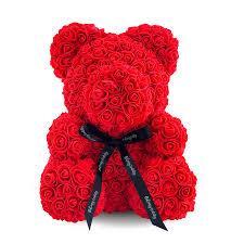 Красивый мишка из латексных 3D роз 40 см в подарочной коробке | Красный