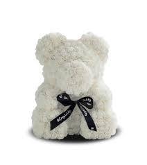 Красивый мишка из латексных 3D роз 40 см в подарочной коробке | Белый