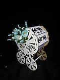 Декоративная коробка-упаковка в виде колясочки, ДВП, р-ры 27х19х13 см., 95/85 (цена за 1 шт. + 10 гр.), фото 5
