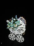 Декоративная коробка-упаковка в виде колясочки, ДВП, р-ры 27х19х13 см., 95/85 (цена за 1 шт. + 10 гр.), фото 6