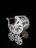 Декоративная коробка-упаковка в виде колясочки, ДВП, р-ры 27х19х13 см., 95/85 (цена за 1 шт. + 10 гр.), фото 7