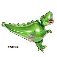 """Шар фольгированный фигурный """"Динозавр зеленый"""" Размер:80см*58см."""