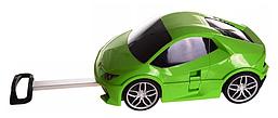 Детский чемодан-машинка на колесах 2 в 1 с пультом управления и выдвижной ручкой Зеленая