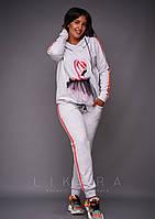 Женский батальный спортивный костюм с фатиновыми вставками