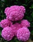Гарний ведмедик з латексних 3D троянд 25 см в подарунковій коробці   Рожевий, фото 6