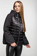 """Демісезонна куртка """"фонарик"""" комбі-атласна, чорна, фото 1"""