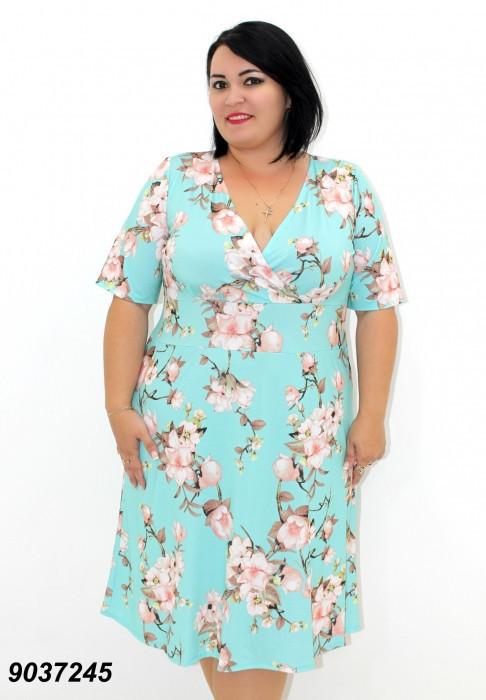 Платье с широкой юбкой,голубое  50,52,54,56