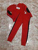 Костюм спортивний хлопчикам унісекс червоний з чорними нарукавніками і лампасами Спорт костюм мальчику