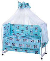 """Фирменный комплект постельного белья 9 предметов """"Тедди"""" голубой"""