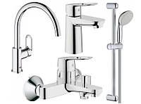 Набор смесителей Grohe BauLoop 123225K для кухни, ванны, умывальника, стойка