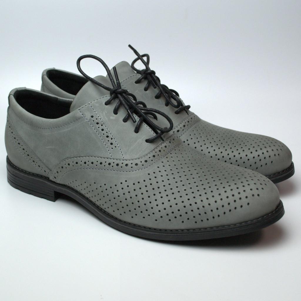 Летние туфли мужские кожаные серые перфорация обувь Rosso Avangard Romano Bandura Crazy Perf