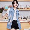 Удлиненная женская джинсовая жилетка (44-48), фото 3