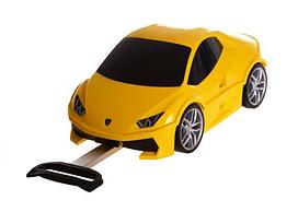 Детский чемодан-машинка на колесах 2 в 1 с пультом управления и выдвижной ручкой Желтая