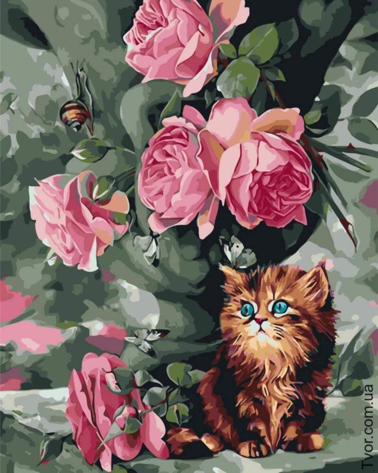 Новым, открытка котик с розой