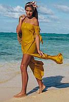 Желтая пляжная туника с открытыми плечами  Vi