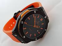 Женские часы HUBLOT - Big Bang оранжевый ремешок, цвет черный японский кварцевый механизм