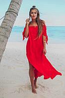 Красная пляжная туника со спущенными плечами  Vi