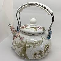 Эмалированный чайник Hoffner 4935 Paris flowers 2,5 литра c бакелит ручкой, фото 1