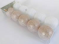 Гирлянда тайские шарики Decorino Miro Cotton Balls 10led, диам 6см, длина 235см на батарейках АА