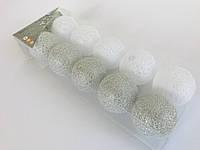 Гирлянда тайские шарики Decorino Rico Cotton Balls 10led, диам 6см, длина 235см на батарейках АА
