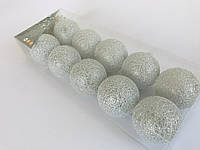 Гирлянда тайские шарики Decorino SilverGrey Cotton Balls 10led, диам 6см, длина 235см на батарейках АА