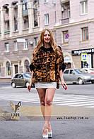 Леопардовый полушубок - натуральный мех
