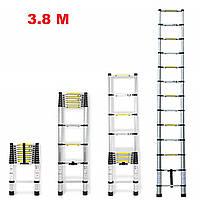 Лестница алюминиевая телескопическая 3,8 метра Ladder EN 131 13 ступеней макс вес 150 кг , фото 1
