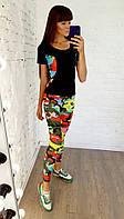 Женский костюм для фитнеса футболка и лосины