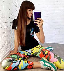 Женский костюм для фитнеса футболка и лосины , фото 3