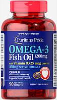 Комплекс незаменимых жирных кислот Puritan's Pride Omega 3 Fish Oil 1200 мг plus Vitamin D3 1000IU (90 капс)