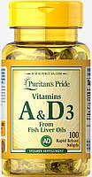 Витамины Puritan's Pride Vitamins A and D 5000/400 IU (100 капс)