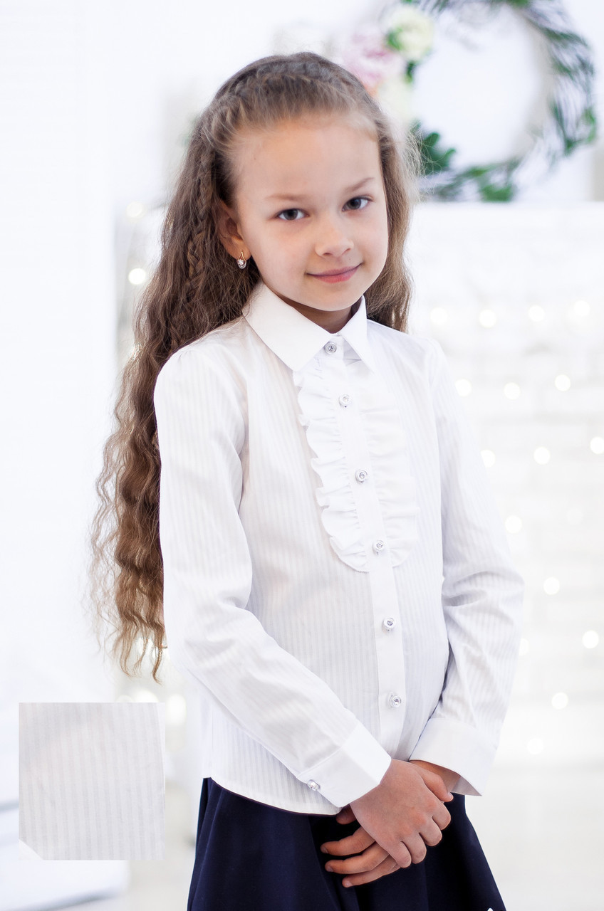 Блузка Свит блуз мод.5022 белая в белую полоску р.134 хлопок 100%
